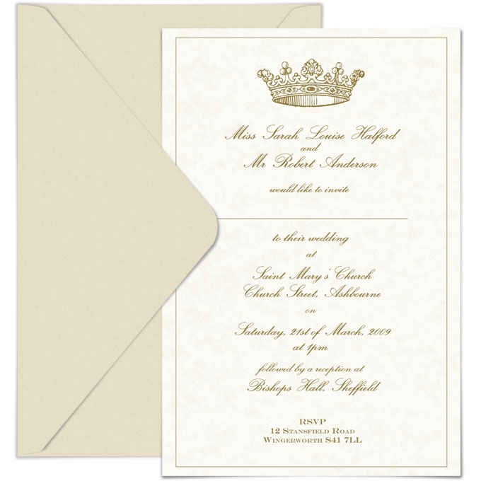 Custom designed wedding invitation with crown logo and gold thermal ink